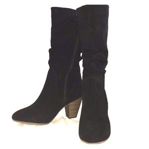Suede Leather Mid-high Zippered Boots